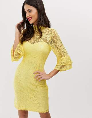 Paper Dolls high neck long sleeve lace dress-Yellow
