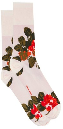 Simone Rocha Rose-jacquard Jersey Socks - Pink Print