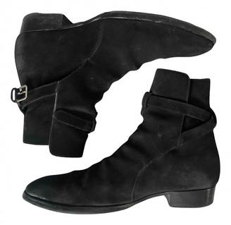 Saint Laurent Wyatt Jodphur Black Suede Boots