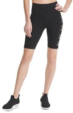 DKNY Sport Striped-Logo High-Waist Bike Shorts