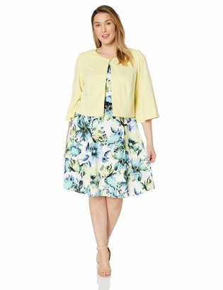 Danny And Nicole Danny & Nicole Women's Plus Size 2pc Textured Jacket w. Printed Fit and Flare Dress