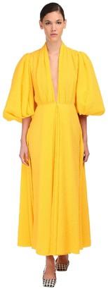 Emilia Wickstead Cotton Midi Dress W/ Puff Sleeves