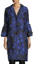 Lela Rose Floral Brocade Bell-Sleeve Coat, Black/Lapis