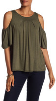 Max Studio Pleated Cold Shoulder Shirt