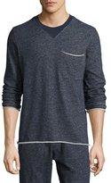 ATM Anthony Thomas Melillo Brushed-Back Terry Raw-Cut Sweatshirt, Navy