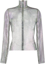Gucci crystal mesh high neck top