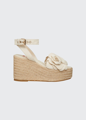 Valentino 3D Flower Wedge Espadrille Sandals