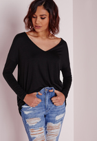 Missguided Long Sleeve Boyfriend V-Neck T-shirt