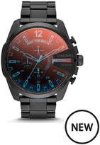 Diesel Mens Watch Black IP Stainless Steel Case, Bracelet With Iridescent Crystal Dial