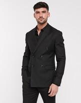 Topman double breasted slim suit jacket in black