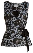 Erdem Azure side-tie floral-jacquard top