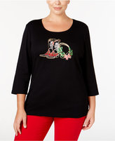 Karen Scott Plus Size Holiday Boot Graphic Top, Only at Macy's