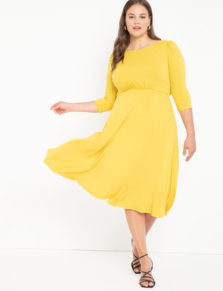 ELOQUII Boat Neck Dress With Back Detail