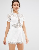 Missguided Lace Short Sleeve Romper