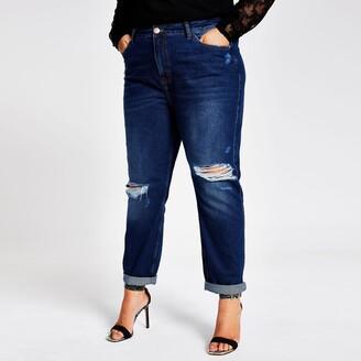 River Island Womens Plus dark denim ripped Mom jeans