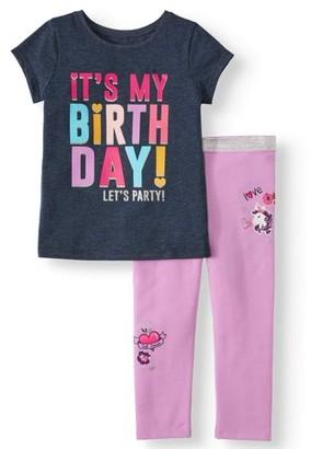 Garanimals Short Sleeve Birthday T Shirt & Leggings, 2pc Outfit Set (Toddler Girls)