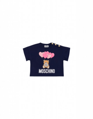 Moschino Heart Balloons Teddy Bear T-shirt With Buttons Woman Blue Size 4a It - (4y Us)