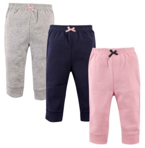 Luvable Friends Baby Girl Tapered Ankle Pants 3-Pack