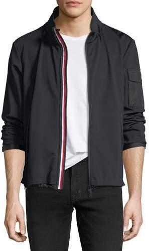 Moncler Soft-Shell Tricolor Zip Jacket, Black