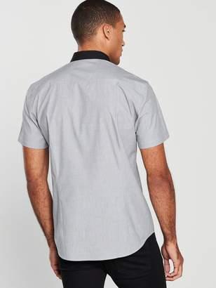 Very Short Sleeve Penny Round Collar Shirt -Grey