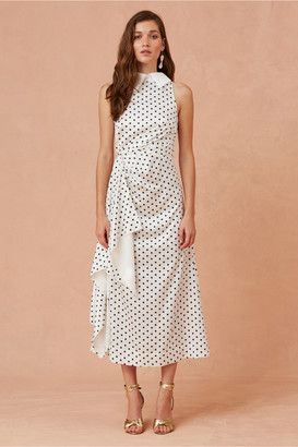 Keepsake FOOLISH MIDI DRESS porcelain w black polka dot