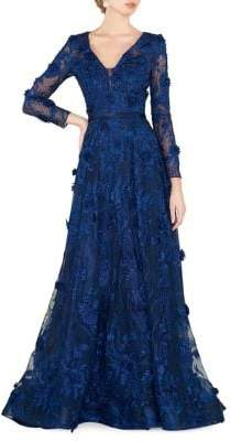 Mac Duggal Floral Lace Gown