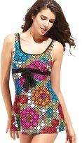 Moonbasa Women's Cool Swimsuit Colorful Grid Printed Tank Top Tankini Swim Skirt (M)