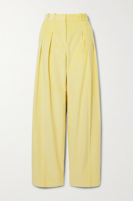 Victoria Victoria Beckham Pleated Cotton-corduroy Wide-leg Pants - Pastel yellow