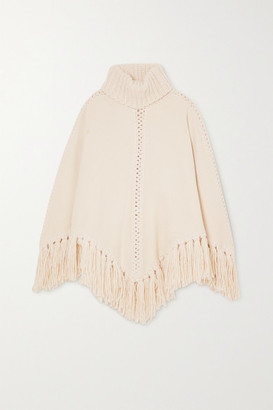 Zimmermann Ladybeetle Fringed Knitted Turtleneck Poncho - Off-white