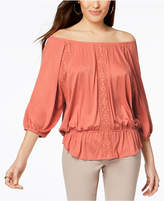 Style&Co. Style & Co Petite Off-The-Shoulder Peplum Top, Created for Macy's