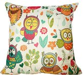 ME COO Cute Owls Couple Lovely Kids Bedding Sets Cojine Seat Cushion Cases Pillow Case Home Textile Decorate Throw Pillowcase 18 18Inches 1pcs