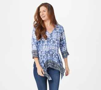 Tolani Collection Printed Top w/ Handkerchief Hem