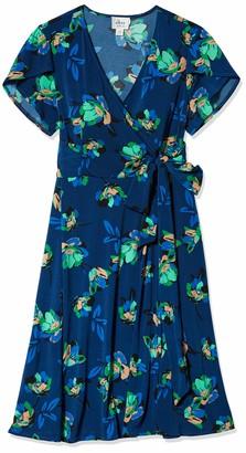 Donna Morgan Women's Plus Size Stretch Knit Jersey Printed Faux Wrap Dress