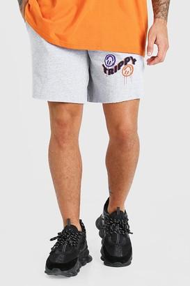 boohoo Mens Grey Mid Length Jersey Short With Trippy Print, Grey