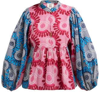Figue Nora Bi-colour Geometric-print Cotton Blouse - Womens - Pink Multi