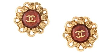 Chanel Pre Owned 1994 Faux-Stone Chain Embellished Earrings