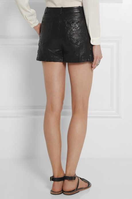 Maje Ennivre lace-up textured-leather shorts