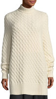 The Row Landi Cable-Knit Cashmere Tunic Sweater