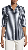 Lafayette 148 New York Paget 3/4-Sleeve Button-Front Check Top, Plus Size