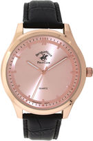 Beverly Hills Polo Club Mens Rose Gold-Tone Sunray Dial Watch