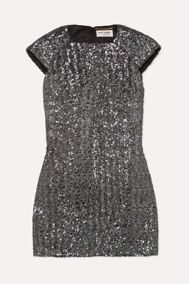 Saint Laurent Sequined Crepe Mini Dress - Silver
