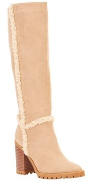 Scoop Womens Rebecca Shearling Trim Lug Sole Boots
