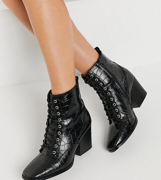 Glamorous Wide Fit lace-up heeled ankle boots with square toe in black croc