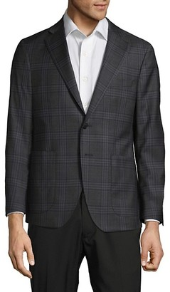 Saks Fifth Avenue Made In Italy Classic Fit Plaid Wool Jacket