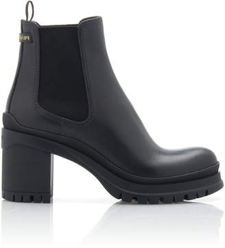 Prada Leather And Rubber Platform Ankle Boots Size: 36.5