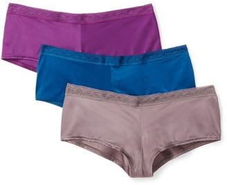 Mae Amazon Brand Women's Soft Microfiber Cheeky Panty with Lace 3 Pack