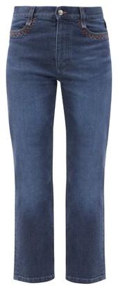 Chloé Logo-print Topstitched Straight-leg Cropped Jeans - Denim