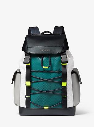 Michael Kors Greyson Color-Block Logo Mixed-Media Backpack - Wht/neon Yel