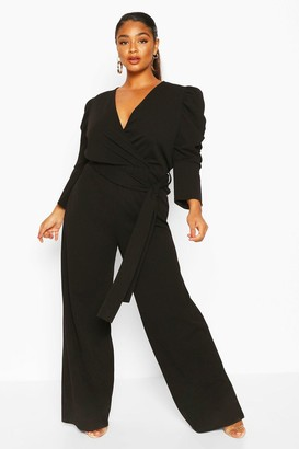 boohoo Plus Ruched Puff Sleeve Wrap Belted Jumpsuit