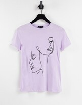 Thumbnail for your product : New Look embroidered abstract face t-shirt in lilac